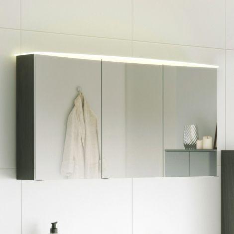 Spiegelschrank Florent gebogen 120cm mit 3 Türen und LED-Lichtleiste - graphit