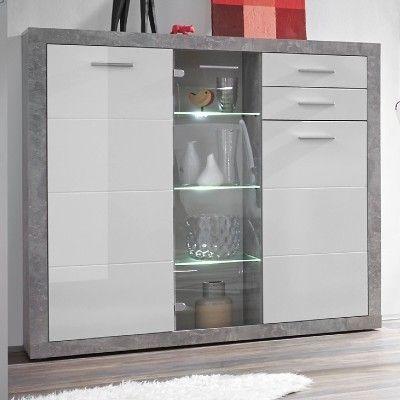Vitrine Stanno 137cm 3 Türen und 2 Schubladen - Beton/Weiß