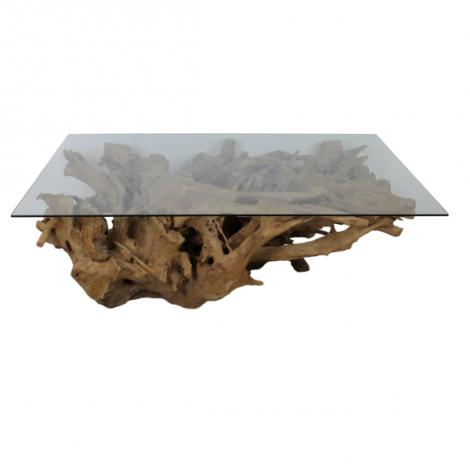 Couchtisch Henk 120x70 - Glas/Teak Wurzelholz