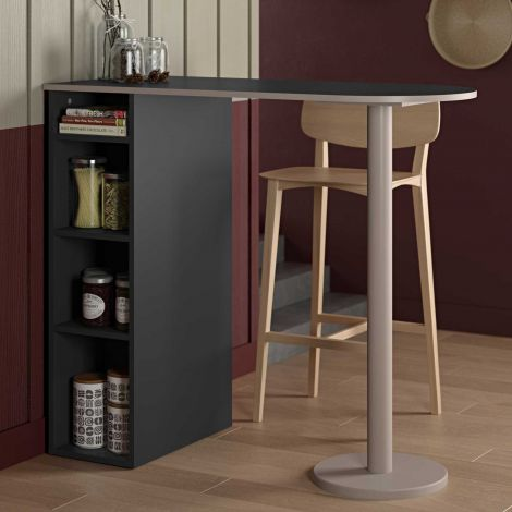 Bartable Amel 115x50 mit Ablage - schwarz/grau