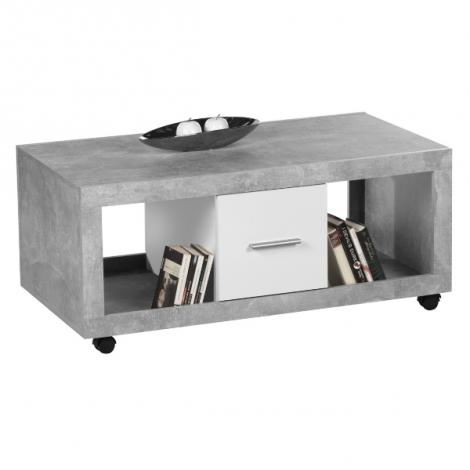 Couchtisch Stanno 115cm mit 2 Schubladen - Beton/Weiß