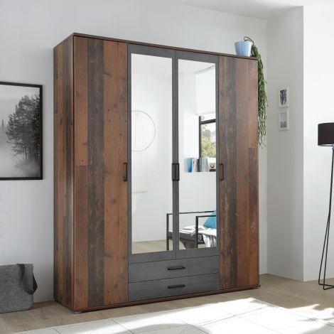 Kleiderschrank Ellis 160cm mit 4 Türen 2 Schubladen und Spiegel - alter Stil/Beton
