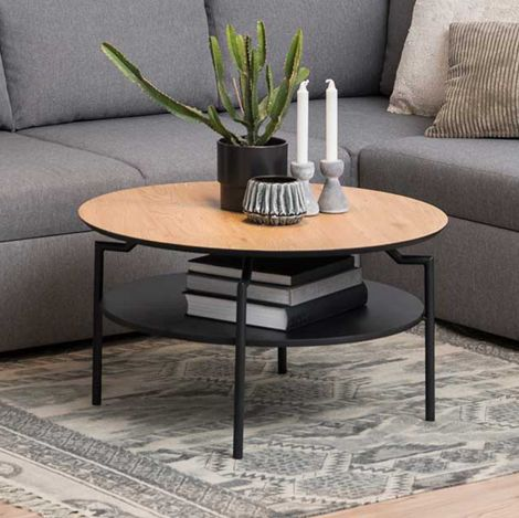 Goldington coffee table - matt black, wild oak