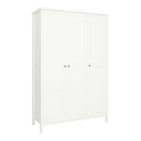 Kleiderschrank Tarik 129cm ländlich mit 3 Türen - weiß