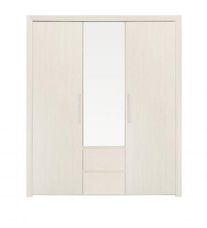 ABBY - Armoire 3 portes 2 tiroirs Frêne blanchi