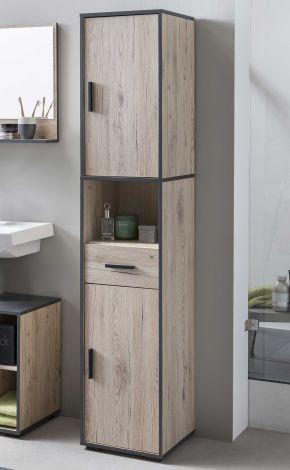 Bad Adria - Hochregal mit 2 Fachböden, 1 offenem Fachboden und 1 ausziehbarer Schublade - Korpus Eiche Sand Decor, Absatz Graphit