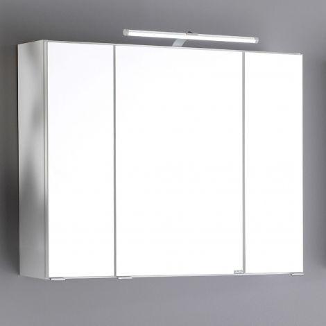 Spiegelschrank Bobbi 80cm Modell 2 3 Türen und led Beleuchtung - weiß