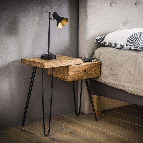 Nachttisch Remi links industrial - Akazienholz