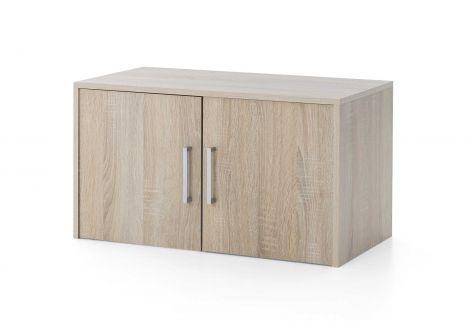 Serie Maxi-Office, Aufsatz-/Hängeschrank breit mit 2 Türen - Sonoma Eiche Dekor