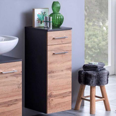 Badezimmerschrank Pares 30cm 1 Tür und 1 Schublade - Graphit/Eiche Rotbraun