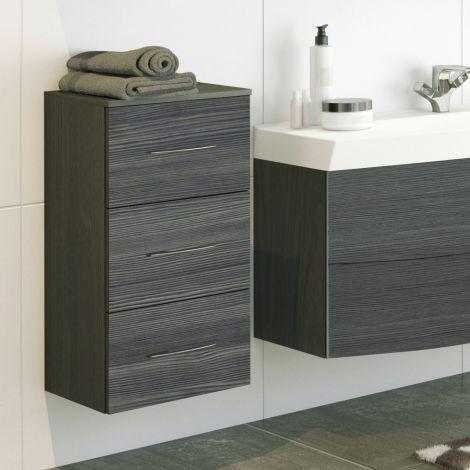 Badezimmerschrank Florent 40cm 3 Schubladen - graphit/graue Eiche