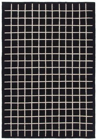 Teppich Kilim Box 300x200 Kariert - Schwarz Elfenbein