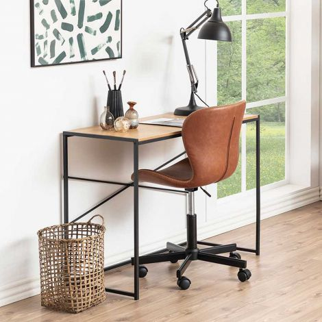 Seaford desk - matt black, wild oak