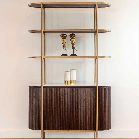 Sideboard Barkley 120cm 2 Türen und 3 Einlegeböden - braun/gold
