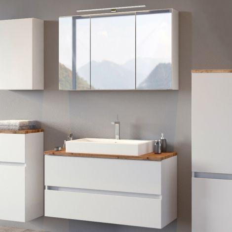 Badkombination Pisca 1 Waschtisch und Spiegelschrank - weiß