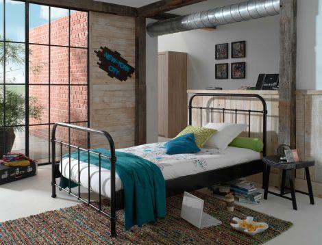Bett New York 120 x 200 cm - schwarz