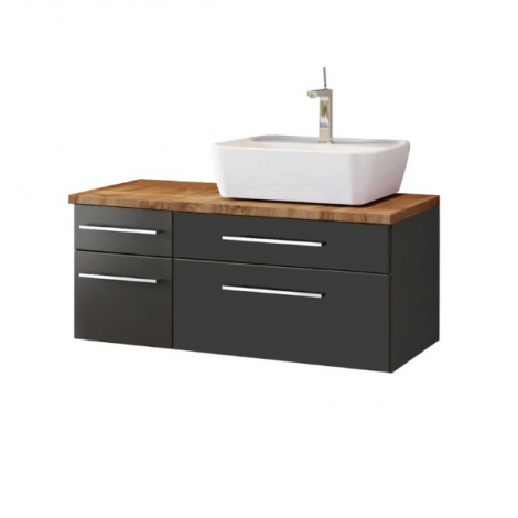 Waschtischunterschrank Dasa (rechts) 90cm mit 4 Schubladen - graphit/mattegrau