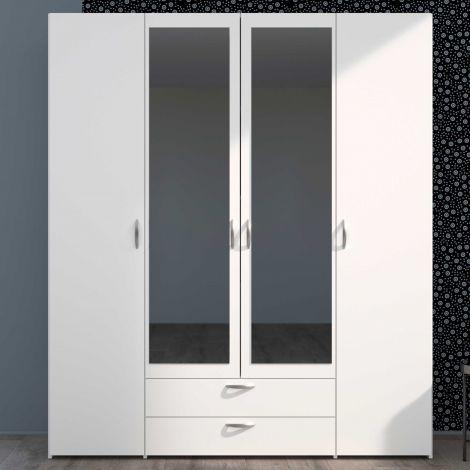 Salvador Aufbewahrungsschrank Spiegel, 4 Türen und 2 Schubladen - weiß
