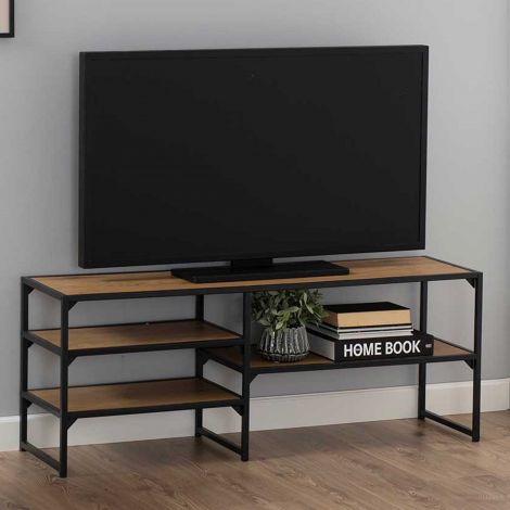 Industrieller TV-Schrank Dover 120cm 3 Einlegeböden - Schwarz/Wildeiche