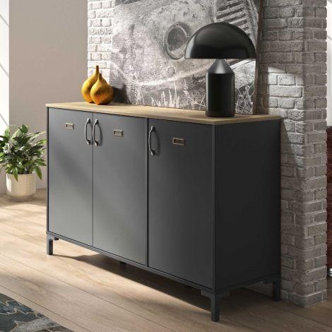 Industrielles Sideboard Manno 136cm 3 Türen - schwarz