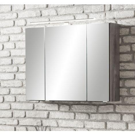Spiegelschrank Stivan 80cm 3 Türen und LED-Beleuchtung - Eiche grau
