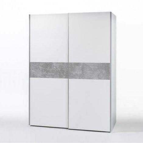 Kleiderschrank Wouter 170cm mit 2 Türen - weiß/Beton
