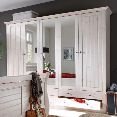 Wardrobe MONACO 115  - Wardrobe closet with 2+3 doors and 4+2 drawers - WHITE WASH