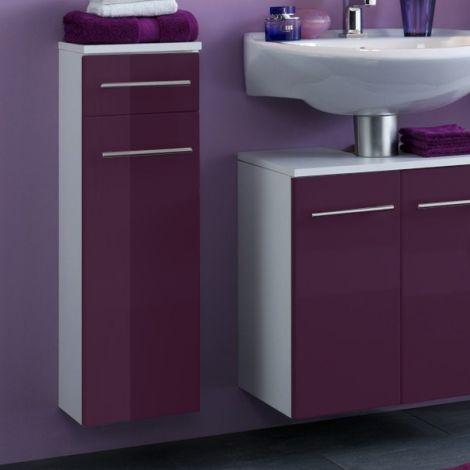 Badezimmerschrank Small 25cm 1 Schublade und 1 Tür - hochglänzend lila