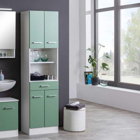Säulenschrank Ricca 50cm 4 Türen und 1 Schublade - weiß/grün