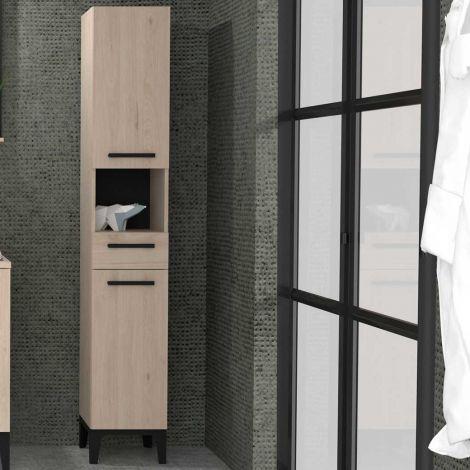 Säulenschrank Dotan mit 2 Türen und 1 Schublade - Eiche