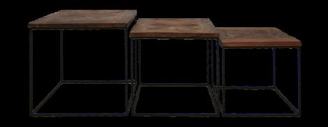 3er-Set Couchtische Austin - recyceltes Java-Holz/schwarz
