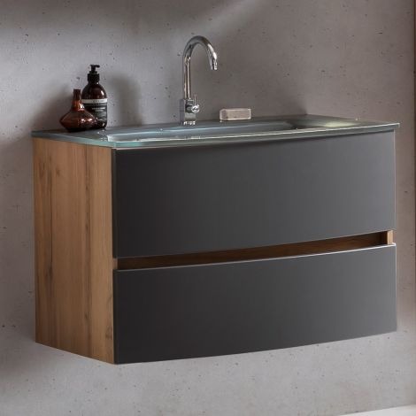 Waschtischunterschrank Kornel 80cm grau Waschbecken - Eiche/mattgrau