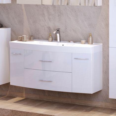 Waschbeckenschrank Florent gebogen 120cm 2 Schubladen und 2 Türen - weiß