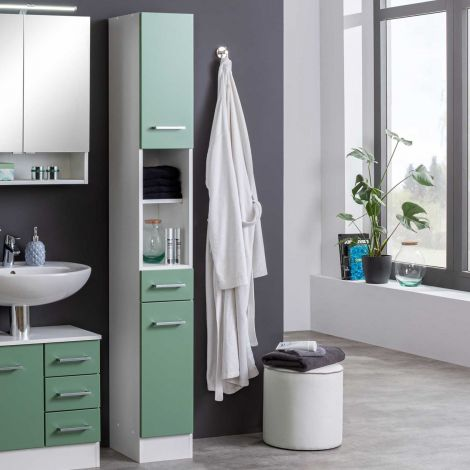 Säulenschrank Ricca 25cm 2 Türen und 1 Schublade - weiß/grün