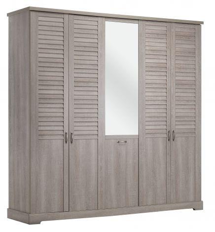 Kleiderschrank Wanda 230 cm 5 Türen und Spiegel - Bleiweißeiche