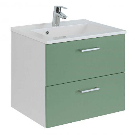 Waschtischunterschrank Ricca 60cm 2 Schubladen - weiß/grün