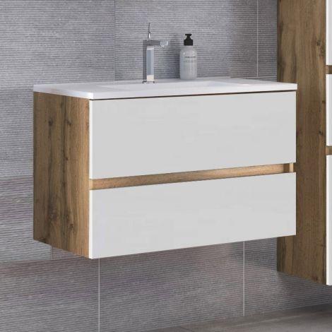 Waschtischunterschrank Luna 100cm 2 Schubladen - Eiche/weiß