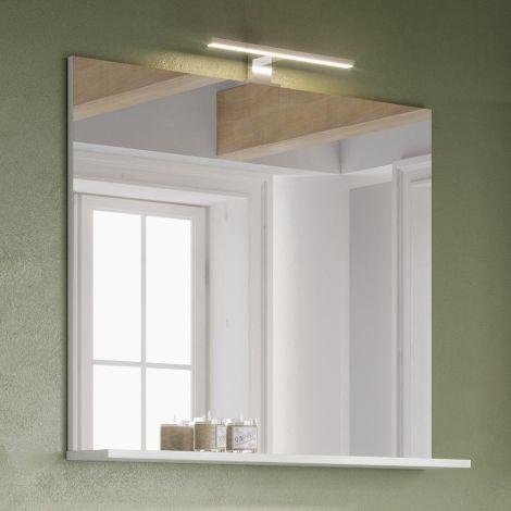Badezimmerspiegel Artis/Tucker mit Beleuchtung und Ablage - weiß