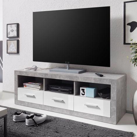 TV-Möbel Stanno 147cm - Beton/Weiß