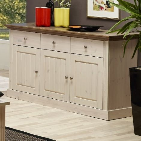 Sideboard MONACO 025 - Sideboard with 3 doors and 3 drawers - WHITE WASH/PROVONCE