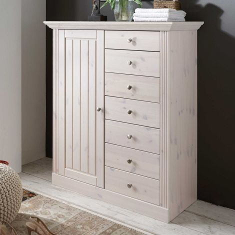 Dresser MONACO 021 - Dresser with 1 door and 1+6 drawers - WHITE WASH