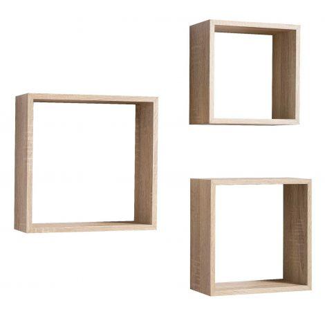 Set mit 3 Wandhalterungen Regal quadratisch - Sonoma Eiche