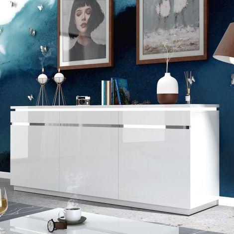Sideboard Elif 200cm 3 Türen - Hochglanz weiß