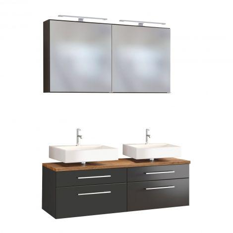 Doppelwaschtischunterschrank mit Spiegelschrank Dasa 120cm 4 Schubladen - graphit/mattgrau