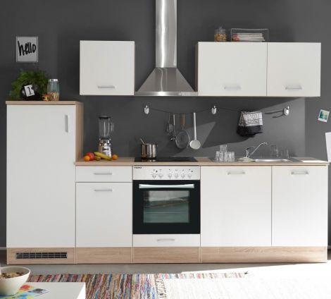 Küchenzeile Arbi - weiß/Eiche