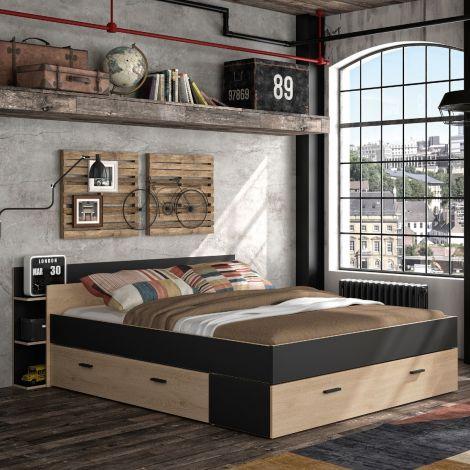 Bett mit Stauraum Eveline 140x190 - schwarz/kastanienholz