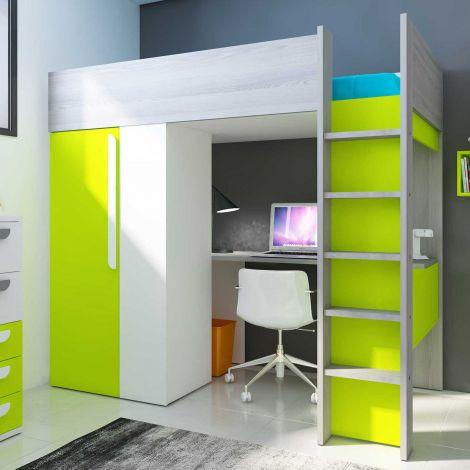 Hochbett Beau mit Schreibtisch und Schrank - grün