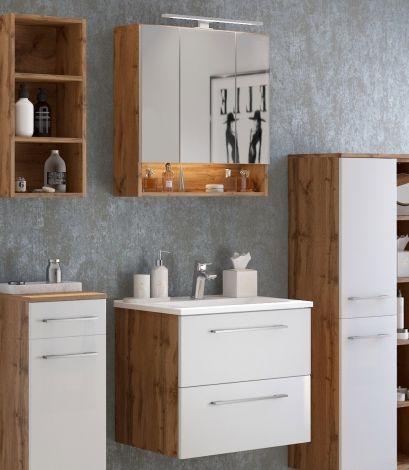 Badkombination Sefa 1 mit Waschbecken und Spiegelschrank - Eiche/Weiß