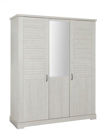 Kleiderschrank Wanda 170 cm 3 Türen und Spiegel - Weißkastanie