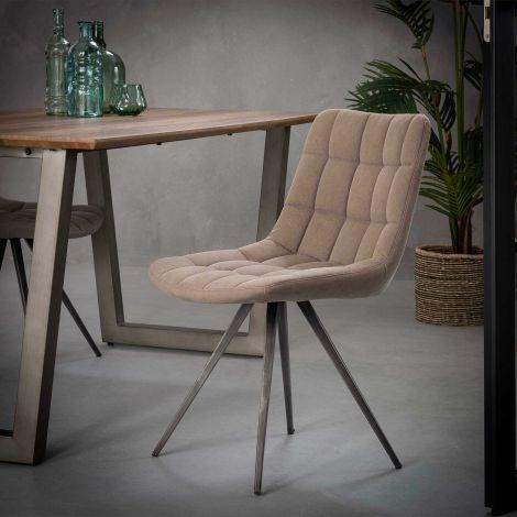 Stuhl Gitter vierkantrohr - Set von 2 - Jeans Sandfarbe